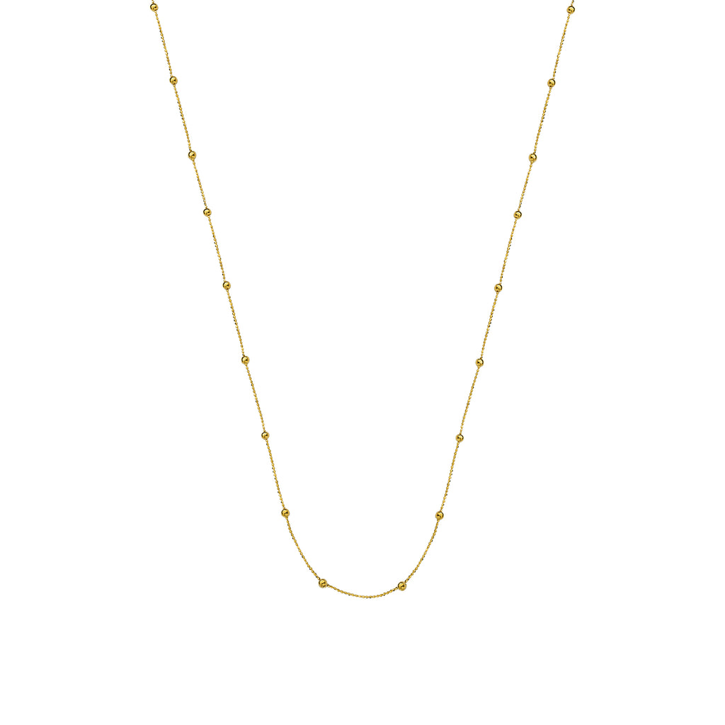 Small Bead Necklace Station Style 14k Yellow Gold