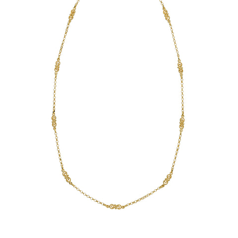 Station Style Necklace 14k Yellow Gold with Rolo Chain and Fancy Links