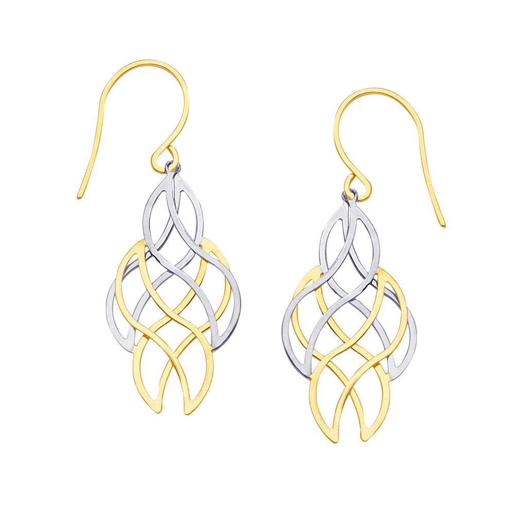 14k Gold Two-tone White and Yellow Moveable Filigree Dangles