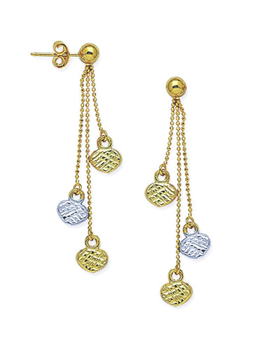 14k Two-tone White and Yellow Gold Ball Post Laser Cut Chain Drop Earrings