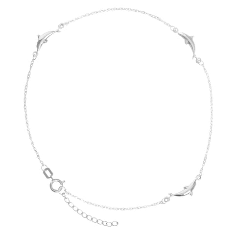Anklet 14k White Gold Twist Chain with Polished Dolphins Adjustable Length