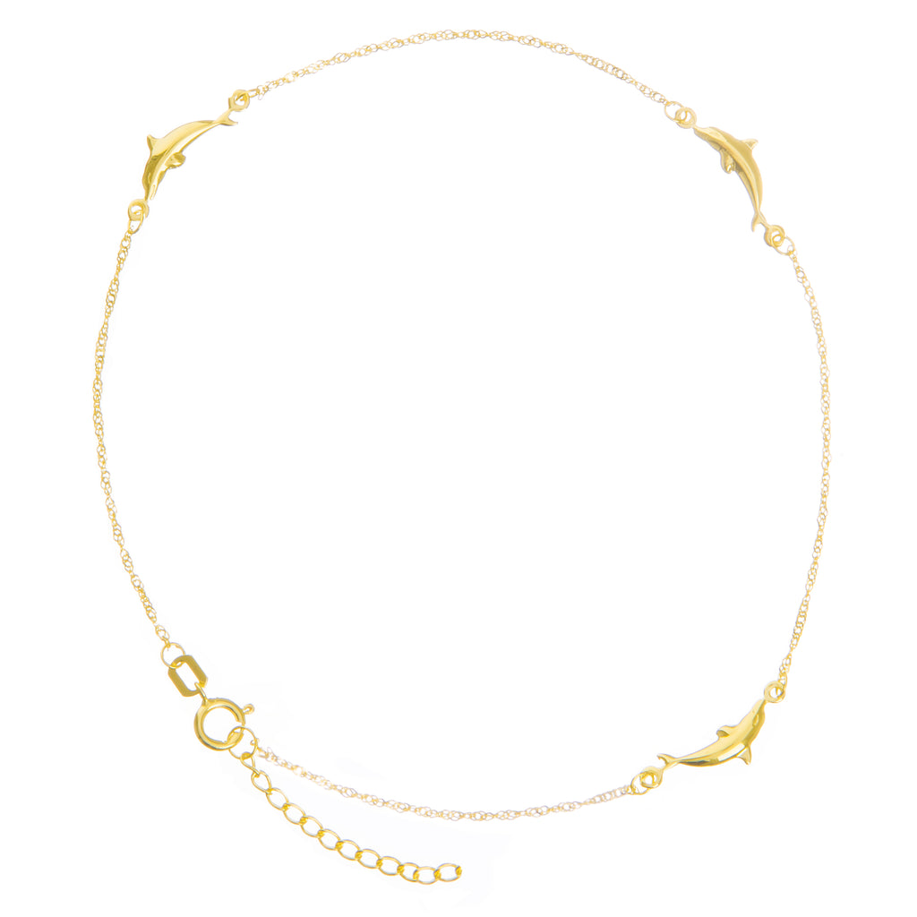 Anklet 14k Yellow Gold Twist Chain with Polished Dolphins Adjustable Length