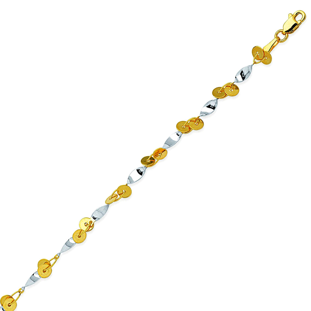 14k Two-tone Gold Anklet Ankle Bracelet with Twist and Double Circle Links
