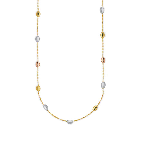 Anklet Oval Bead Stations 14k Three-tone Gold Adjustable Length