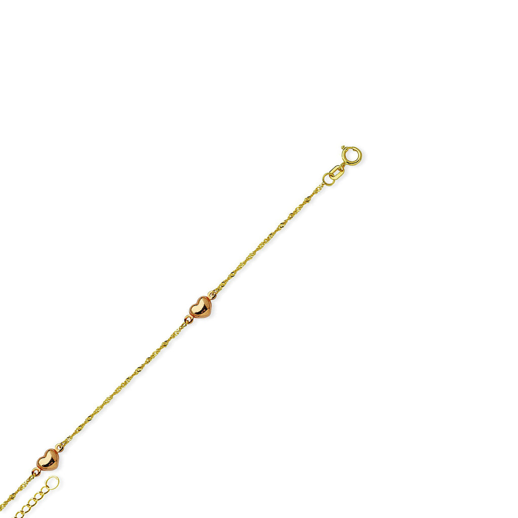 Anklet 14k Yellow Gold Twist Chain with 14k Rose Gold Hearts Adjustable Length