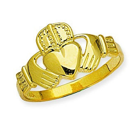 14k Yellow Gold Mens Claddagh Ring