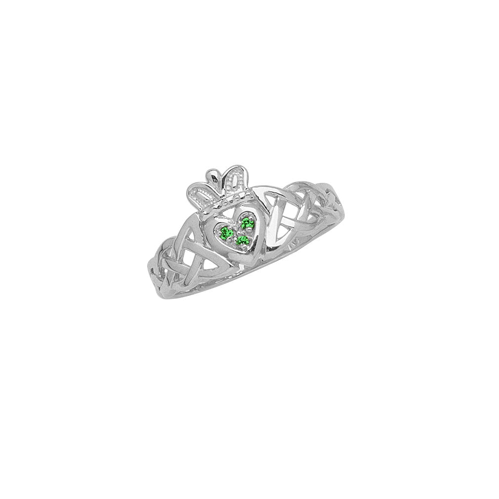 14k White Gold Claddagh Celtic Knot Band Ring with Synthetic Emerald Accents