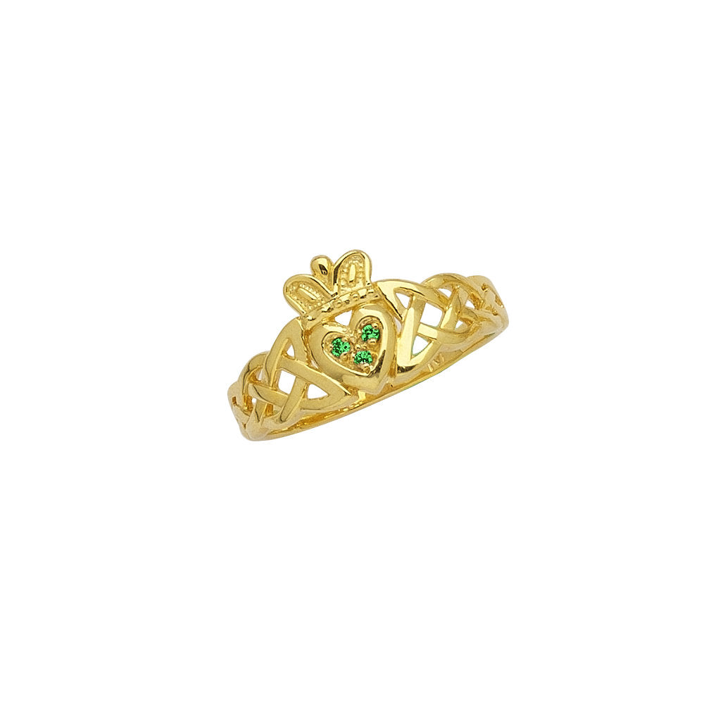 14k Yellow Gold Claddagh Celtic Knot Band Ring with Synthetic Emerald Accents