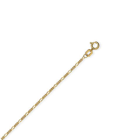 14k Yellow Gold Childrens Figaro Chain Adjustable 13 to 15 inches 1.28mm