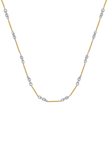 14k Two Tone White and Yellow Gold Designer Twist and Round Link Necklace
