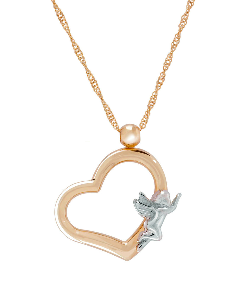 14k Gold Open Heart Necklace with Angel Two-tone White and Yellow Gold