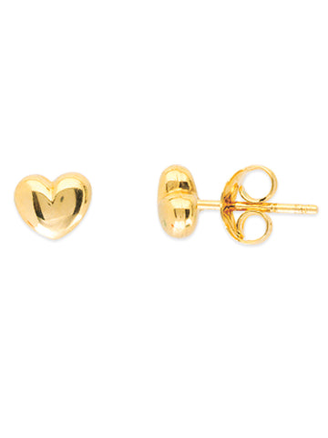 14k Yellow Gold Puffed Heart Stud Earrings