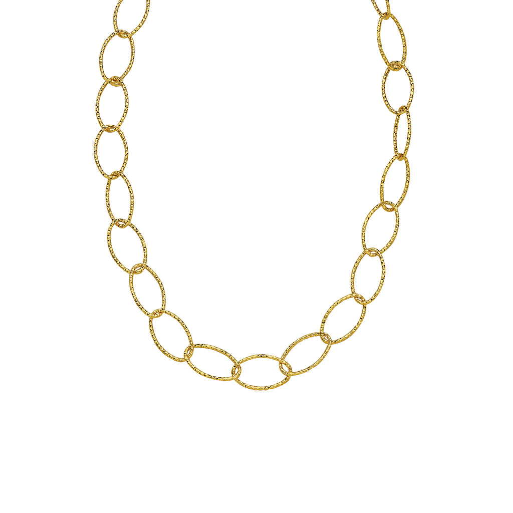 14k Yellow Gold Oval Diamond-cut Necklace 17-inch Length