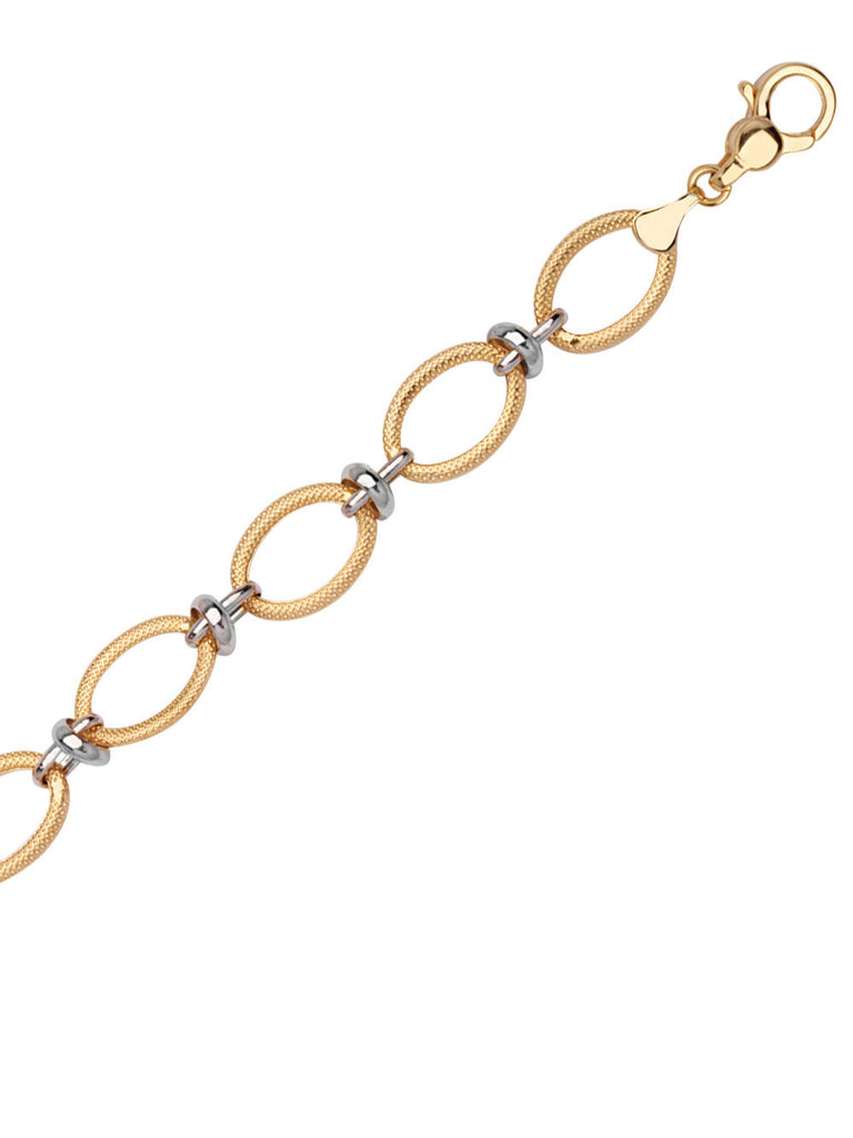 14k White and Yellow Gold Link Bracelet with White Gold Accents
