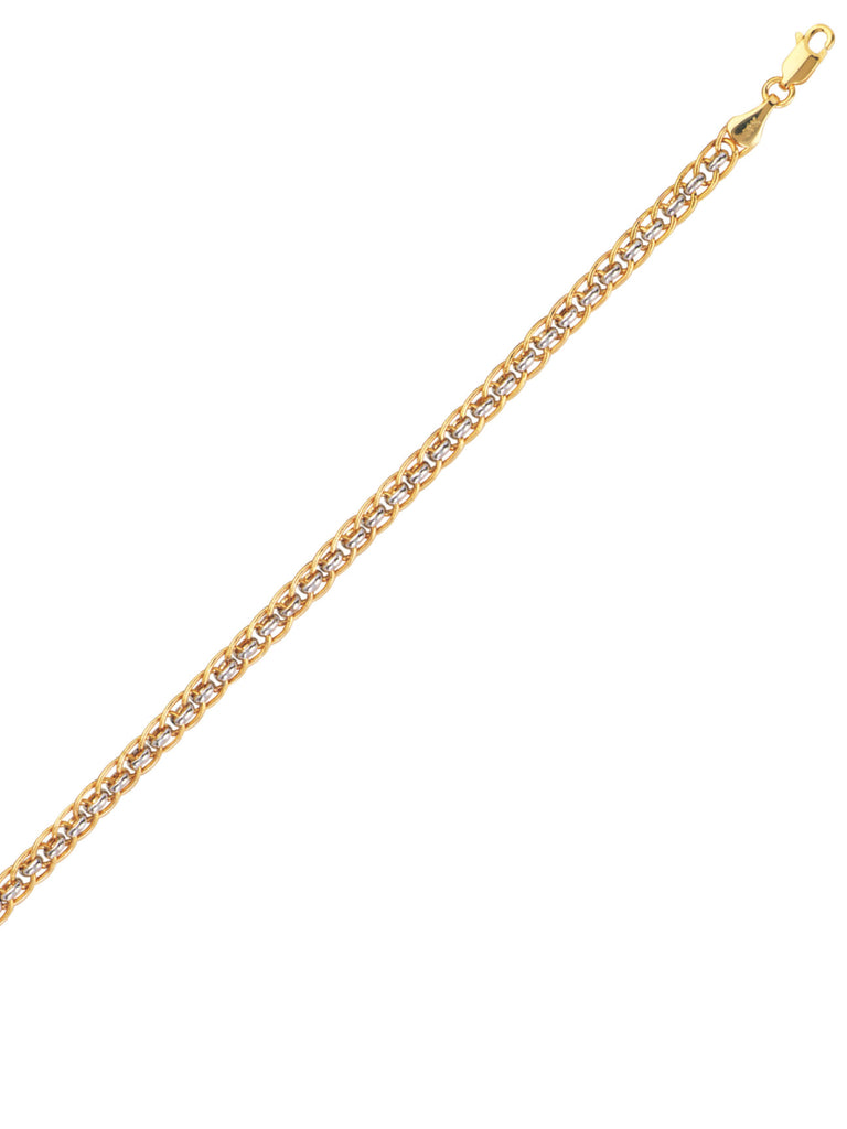 14k Two-tone White and Yellow Gold Oval and Round Link Bracelet