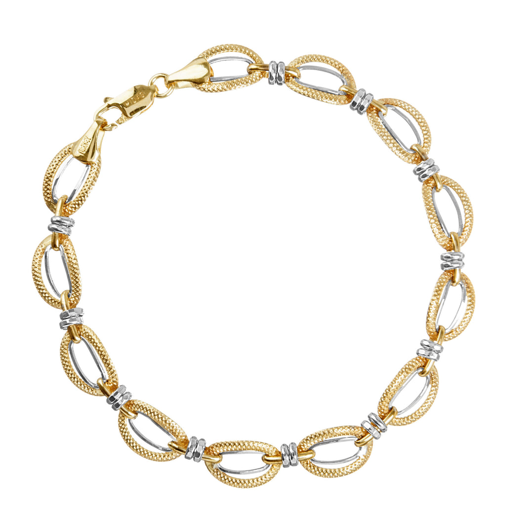 14k Two-tone Gold Bracelet with White and Yellow Gold