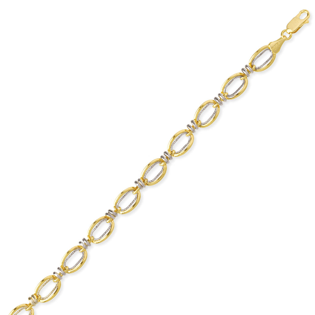 14k Two-tone Gold Bracelet with White and Yellow Gold Links