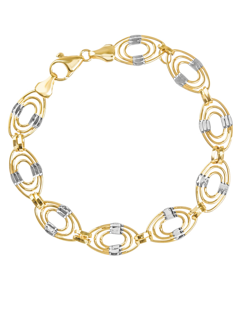 14k White and Yellow Gold Triple Layer Link Bracelet with White Gold Accents