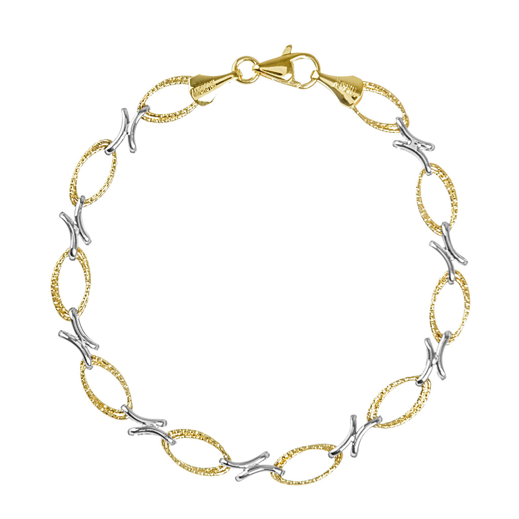 14k Two-tone Gold Bracelet with Twist Rope and Double Curved Bar Design