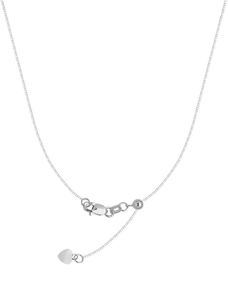 Adjustable Box Chain Adjust to 22 inches Rhodium on Sterling Silver 0.8mm