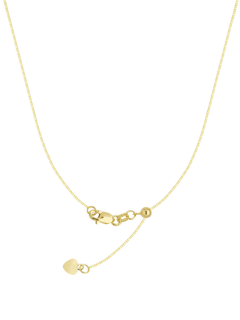 Adjustable Box Chain Adjust to 22 inches Yellow Gold on Sterling Silver