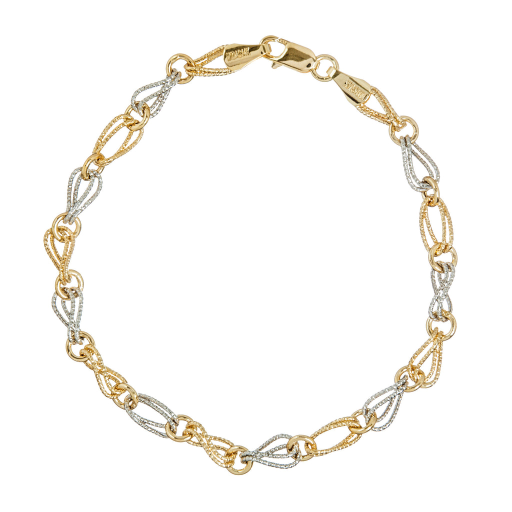 14k Two-tone Gold Bracelet with Double Twist Rope Design