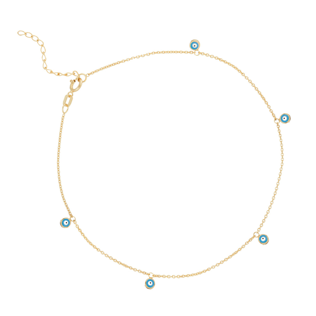 14k Yellow Gold Anklet Ankle Bracelet with Evil Eye Nazar Boncuk Dangles