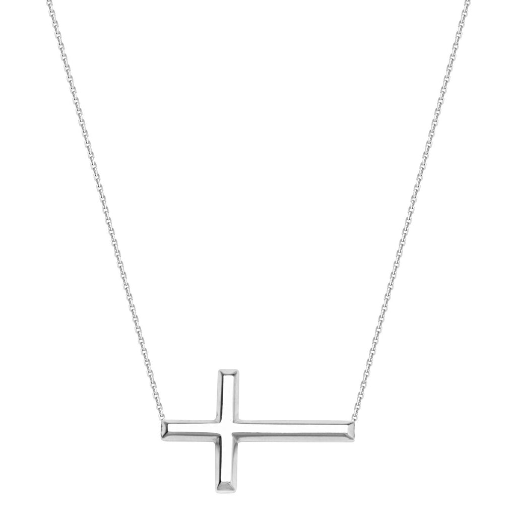 14k White Gold East2West 25x14mm Sideways Cross Necklace Adjustable