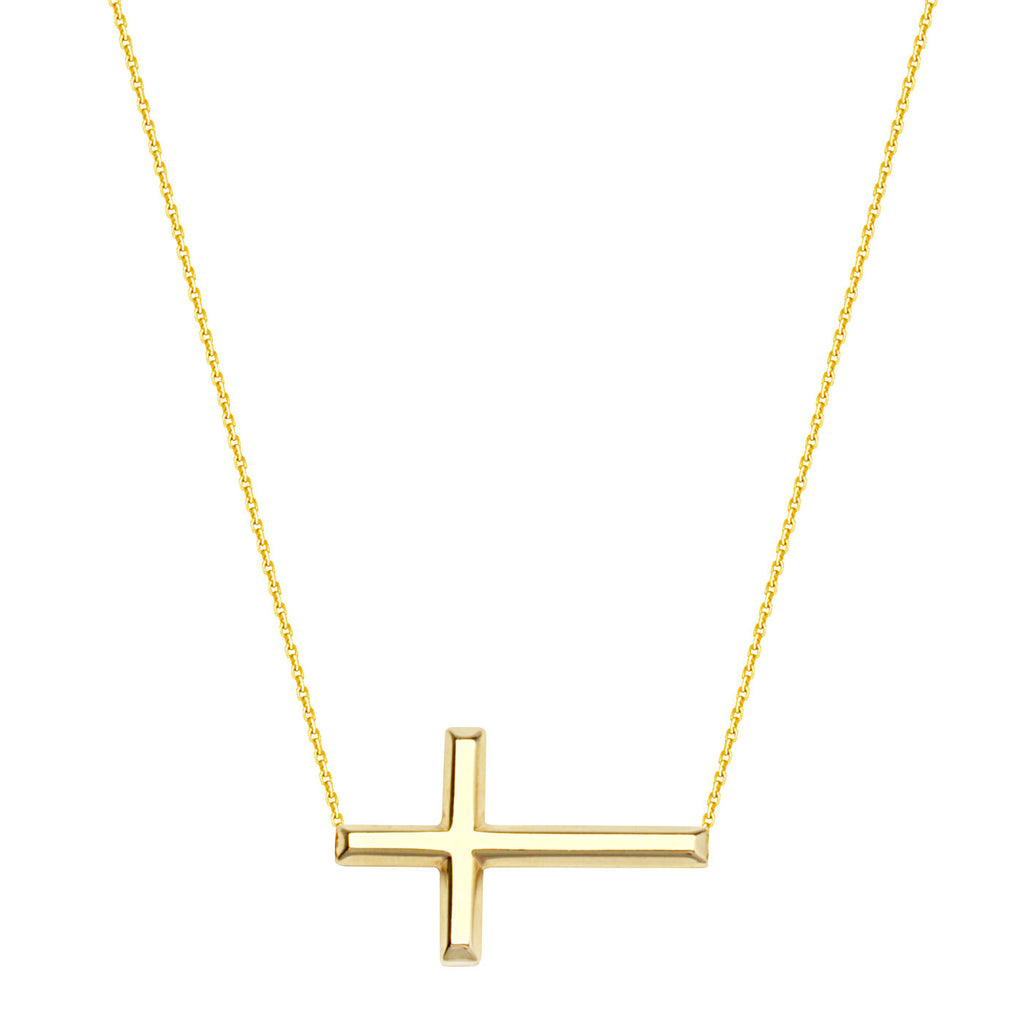 14k Yellow Gold East2West 25x14mm Sideways Cross Necklace Adjustable