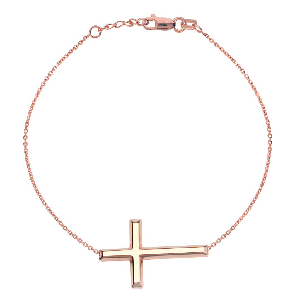 14k Rose Gold East2West 25x14mm Sideways Cross Bracelet Adjustable