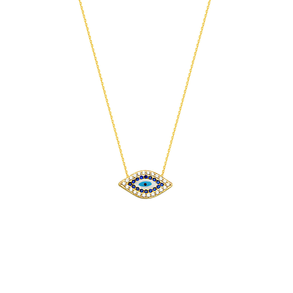 East 2 West Evil Eye Necklace 14k Yellow Gold Adjustable Length
