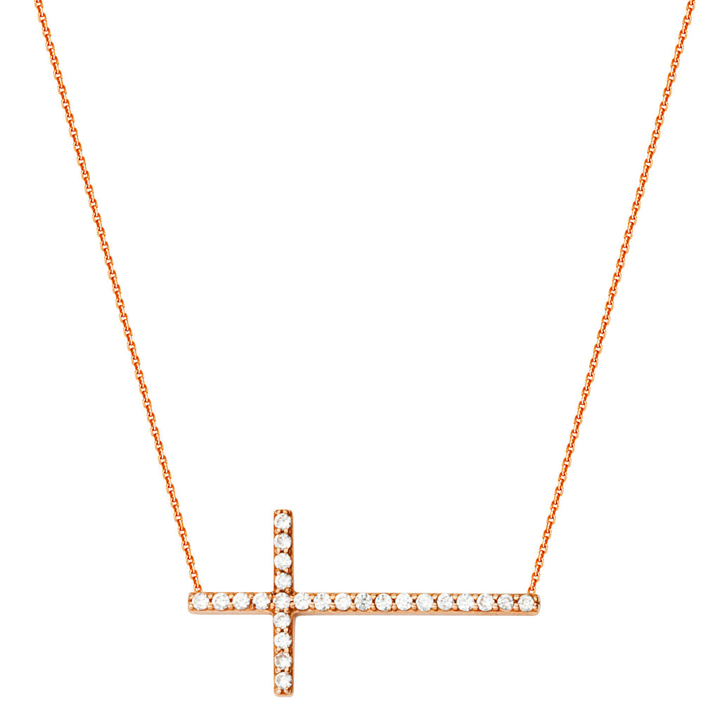 14k Rose Gold Side Set Cross Necklace with Cubic Zirconia Adjustable