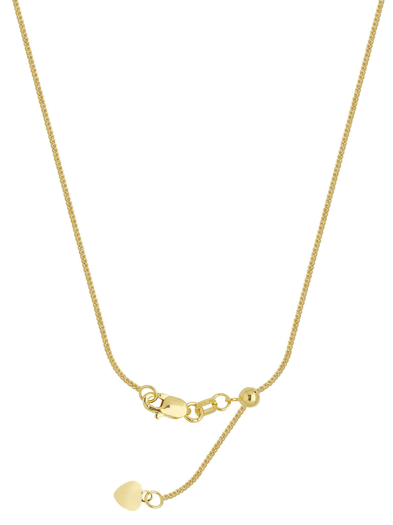 14k Yellow Gold Adjustable 025 Square Wheat Chain with Slider Adjust Up to 22 inches