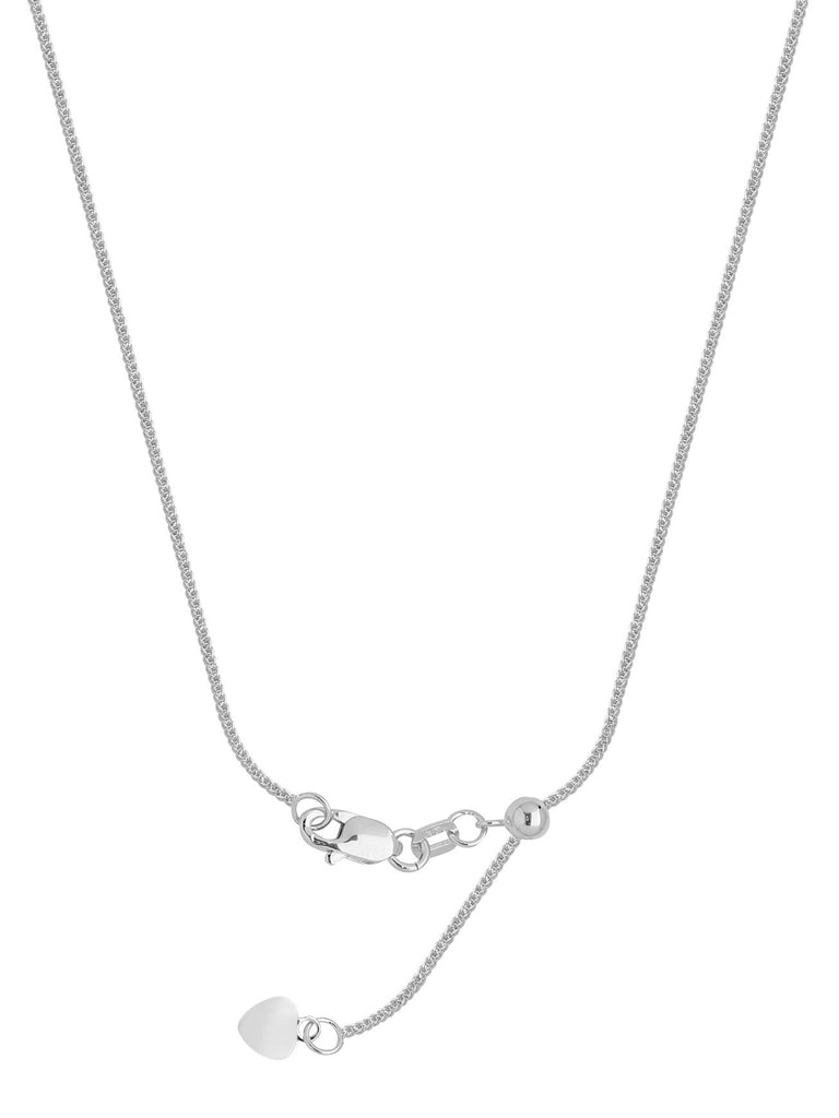 Adjustable Square Wheat Chain Adjust to 22 inches Rhodium on Sterling Silver