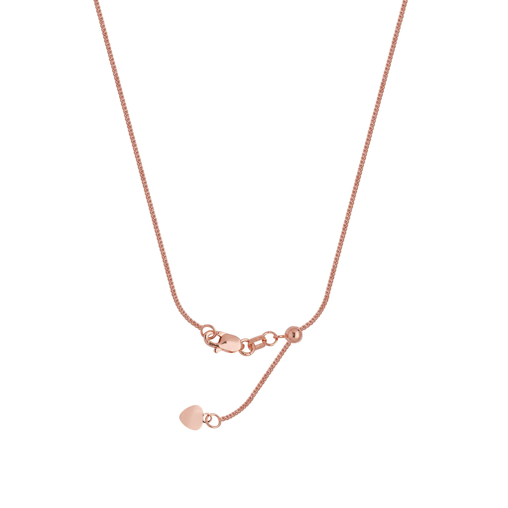 Adjustable Square Wheat Chain Adjust to 22 inches Rose Gold on Sterling Silver