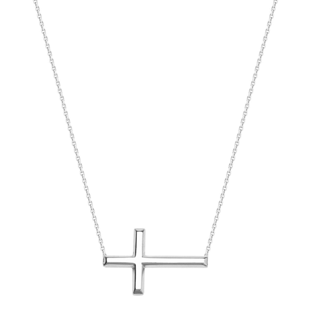 14k White Gold East2West 20x11mm Sideways Cross Necklace Adjustable