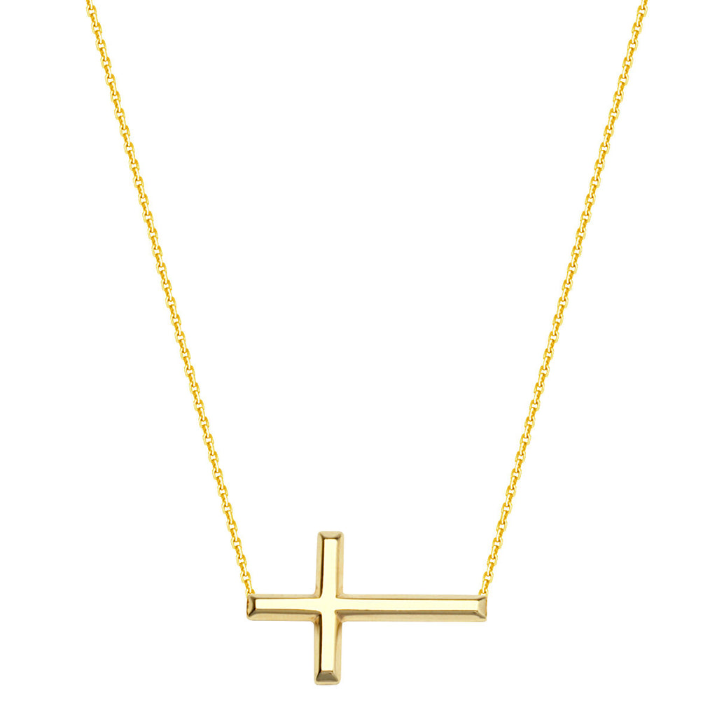 14k Yellow Gold East2West 20x11mm Sideways Cross Necklace Adjustable