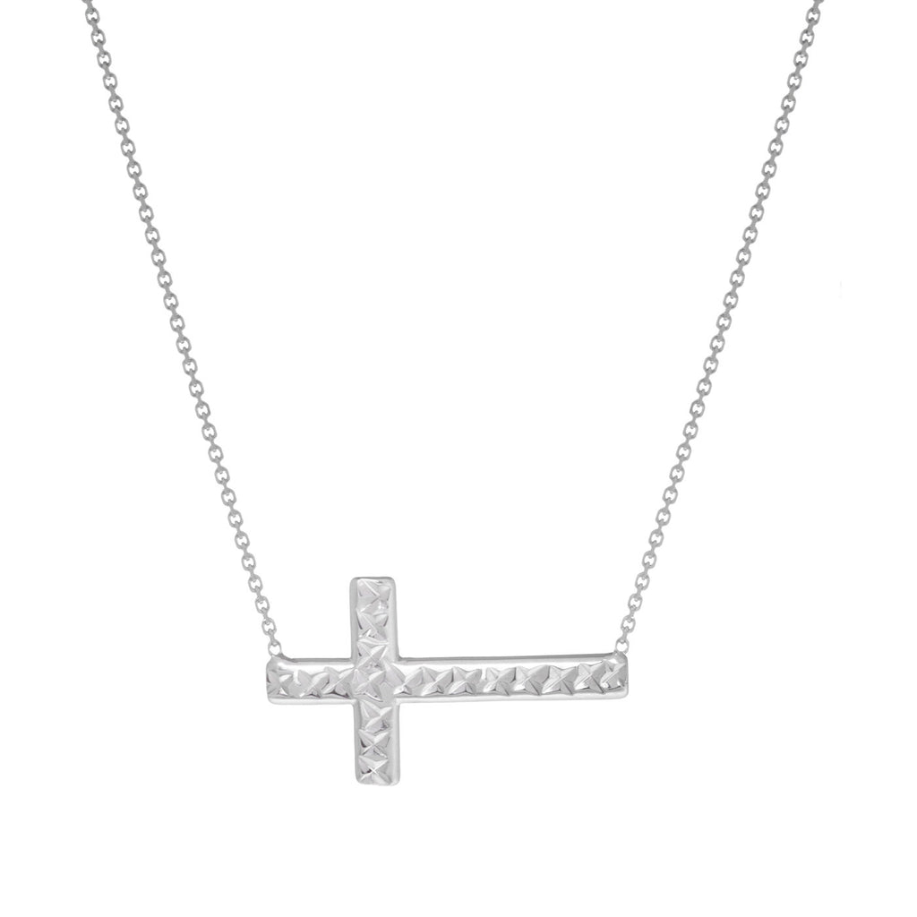14k White Gold East2West Reversible Sideways Cross Necklace Adjustable
