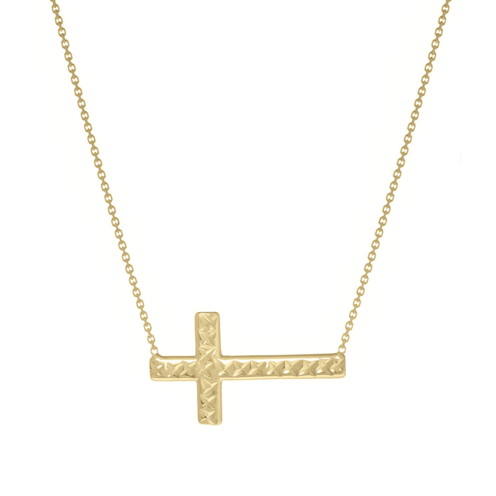 14k Yellow Gold East2West Reversible Sideways Cross Necklace Adjustable