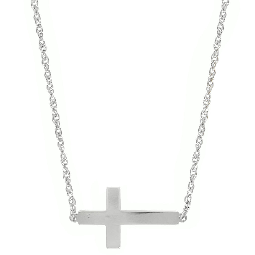 East2West Sideways Cross Necklace Rhodium on Sterling Silver - Nontarnish