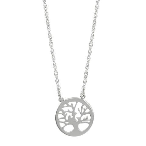 East2West Family Tree of Life Necklace Rhodium on Sterling Silver - Nontarnish