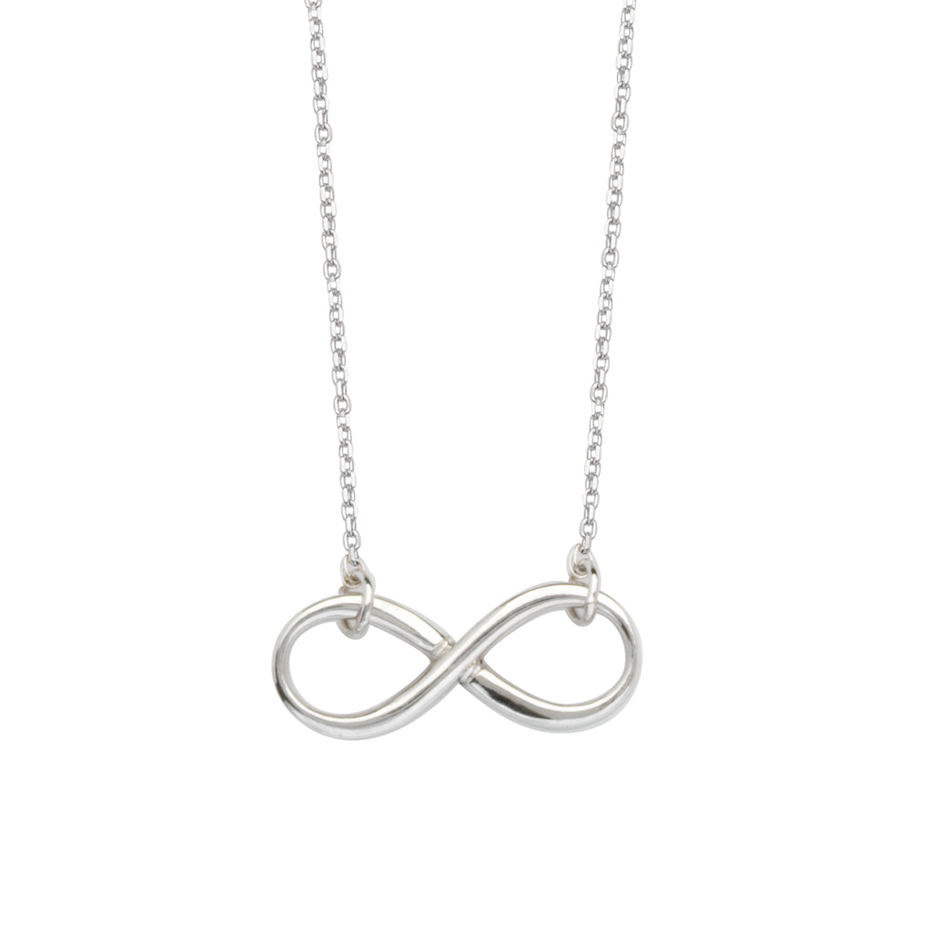 Infinity Necklace with Adjustable Chain East2West Rhodium on Sterling Silver