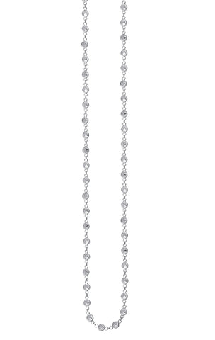 Long Necklace 36-inch Black Rhodium-plated Sterling Silver with Cubic Zirconia
