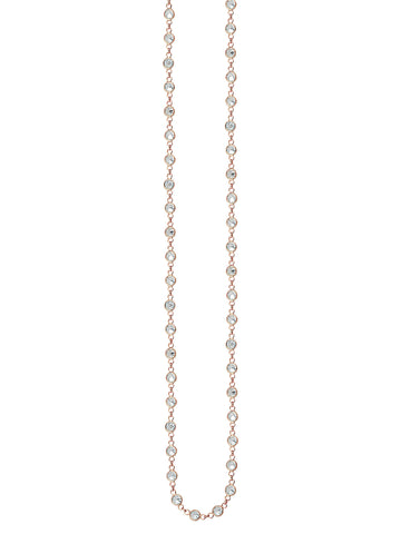 Long Necklace 36-inch Rose Gold-plated Sterling Silver with Cubic Zirconia