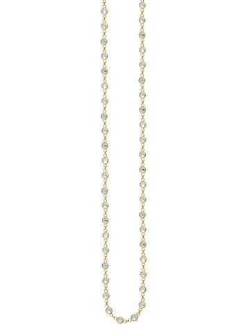 Long Necklace 36-inch Gold-plated Sterling Silver with Cubic Zirconia
