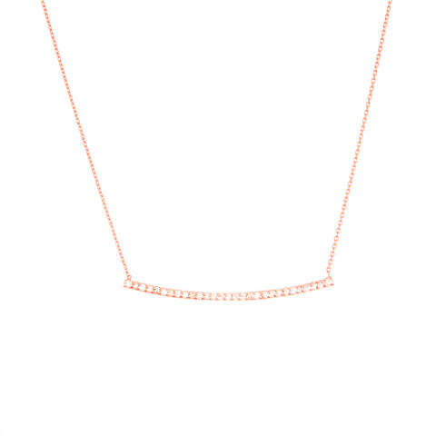Bar Necklace 14k Rose Gold - East 2 West with Genuine Diamonds