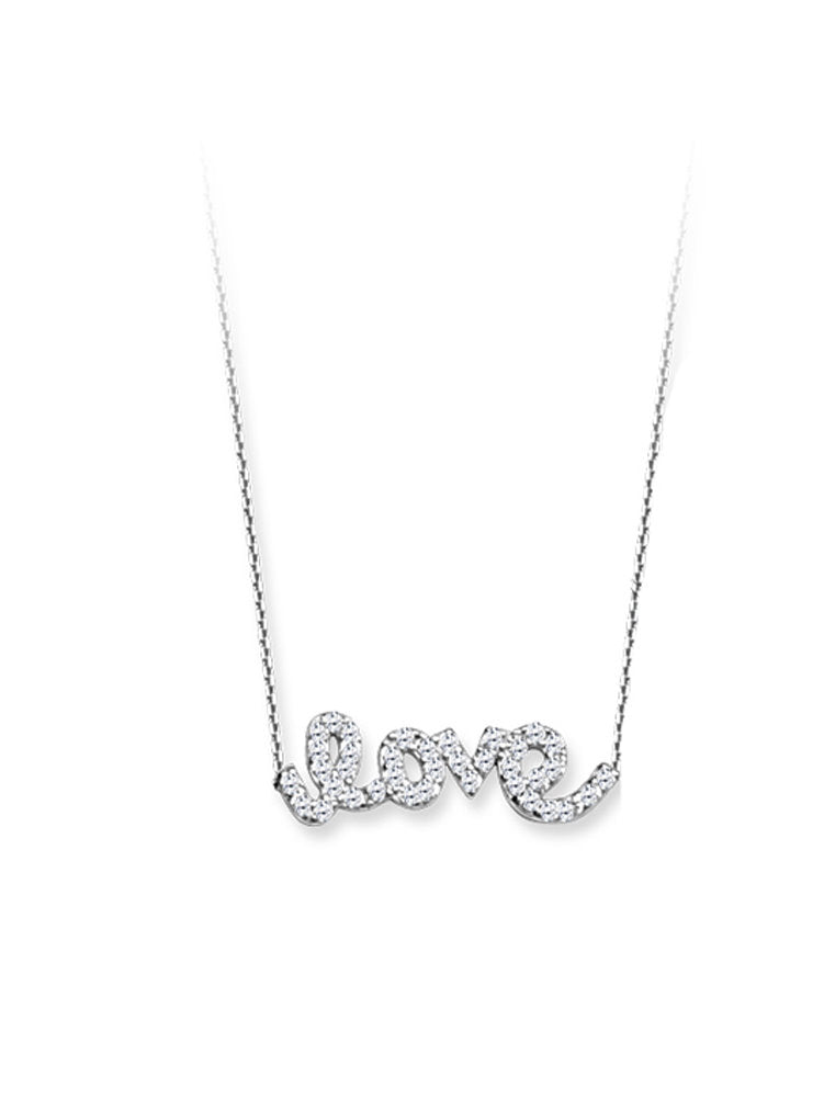 East 2 West Word Love Necklace Rhodium on Sterling Silver with Cubic Zirconia