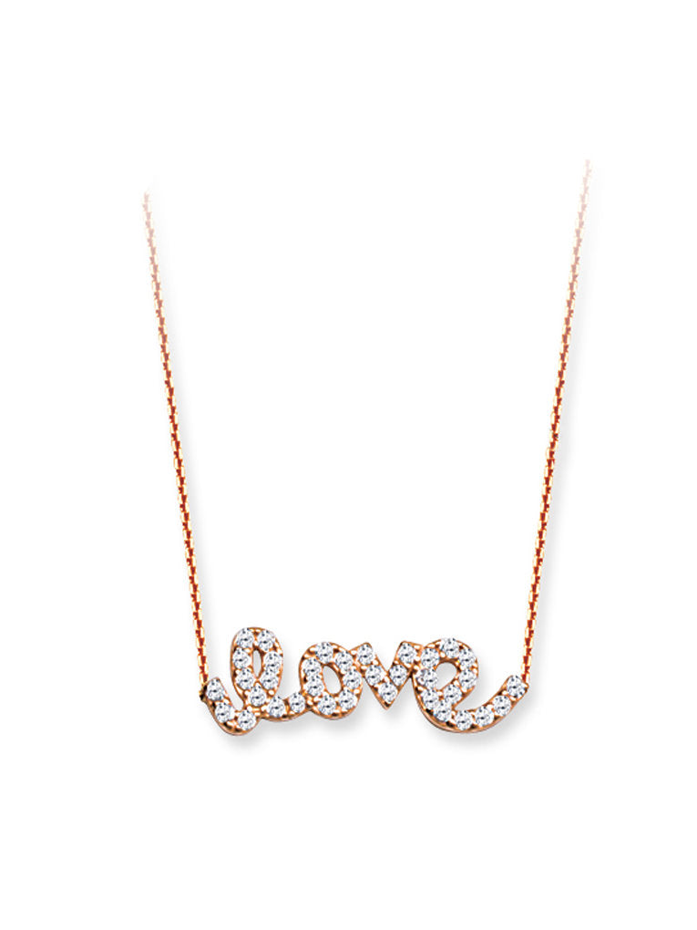 East 2 West Word Love Necklace Rose Gold on Sterling Silver with Cubic Zirconia