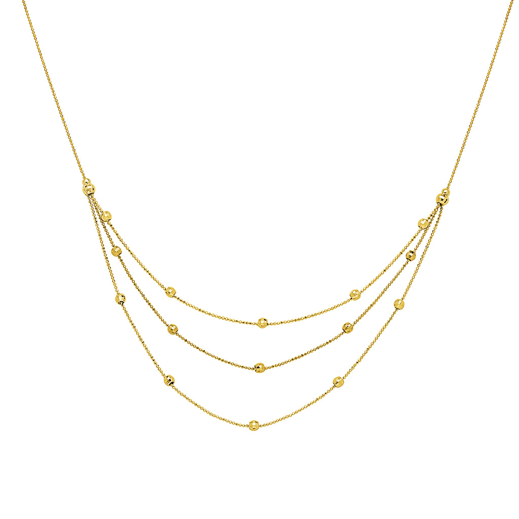 6341d5f75572d Station Style Bead Necklace 14k Yellow Gold Bib