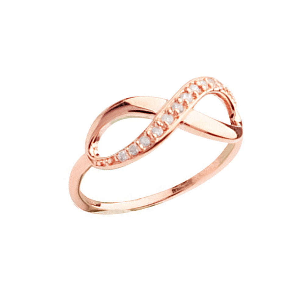 14k Rose Gold Infinity Ring One Side Lined with Cubic Zirconia
